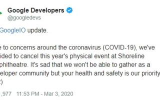 Google отменил ежегодную конференцию I/O 2020 из-за коронавируса